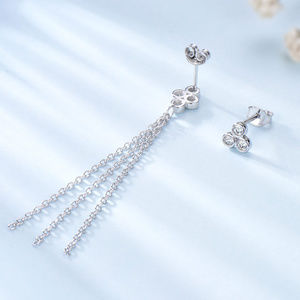 Silver Long Earrings for Women Dangle Tassel